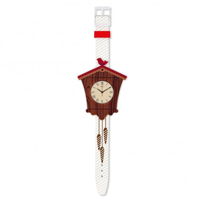 Swatch Swatch GC116 Uhrly Brown & White Silicone Watch