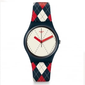 Swatch GN255 Socquette Red & Navy Blue Striped Watch