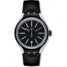 Swatch Go Cycle YES4003 Black Leather & Aluminium Watch
