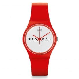 Swatch GR404 4EVERFEVER White & Red Silicone Watch