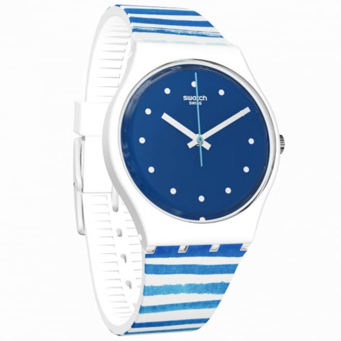 Swatch Swatch GW193 Sea View Blue & White striped Neon Silicone Watch