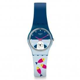 Swatch LN152 Fish Me Baby Blue Two Tone Silicone Watch