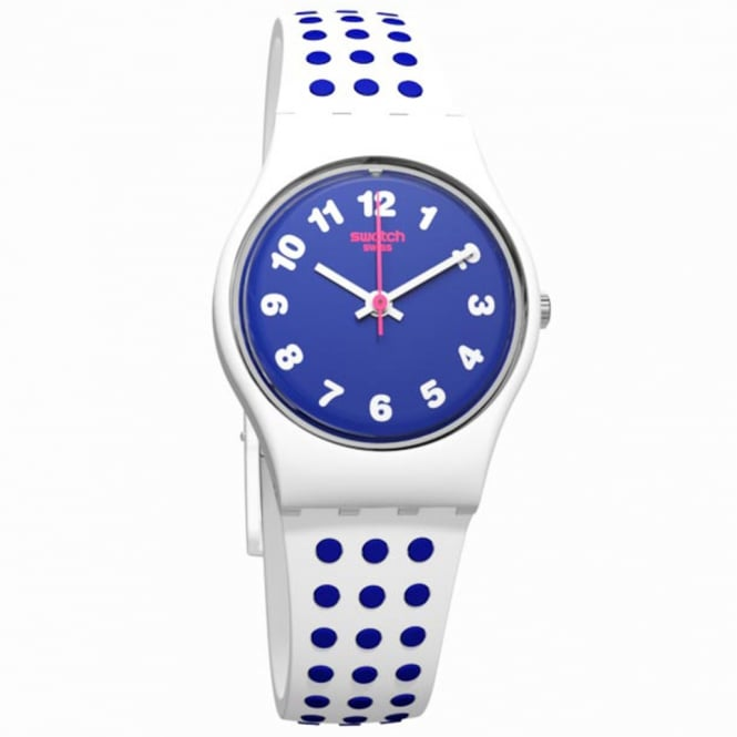Swatch Swatch LW159 Bluedots Blue and White spotted Neon Silicone Watch