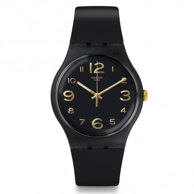 Swatch Swatch SUOB138 Townhall Gold & Black Silicone Watch