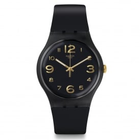Swatch SUOB138 Townhall Gold & Black Silicone Watch