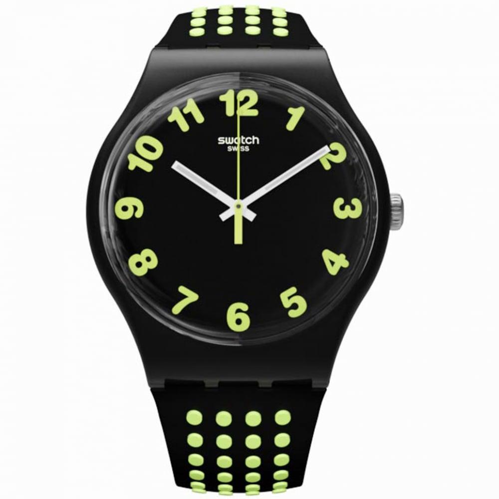 a7a71e98b56 Swatch SUOB147 Punti Gialli Green   Black Silicone Watch - Mens ...