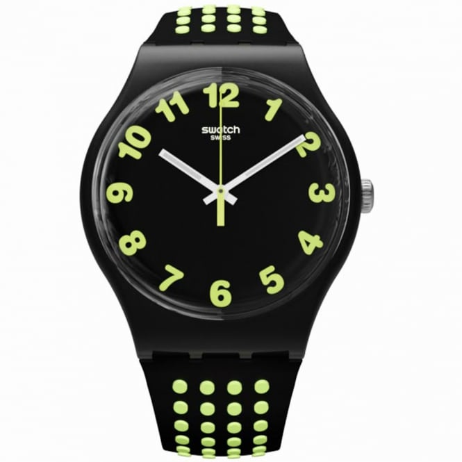 Swatch Swatch SUOB147 Punti Gialli Green & Black Silicone Watch