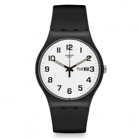 Swatch SUOB705 Twice Again White & Black Silicone Watch