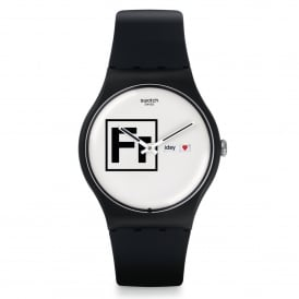 Swatch SUOB722 Fritz White & Black Silicone Watch