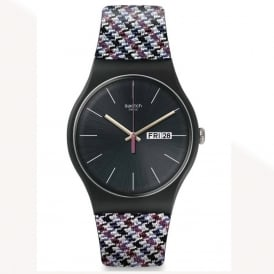 Swatch SUOB725 Warmth Black & Navy Blue Silicone Watch