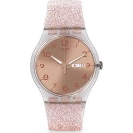 Swatch SUOK703 Pink Glistar Pink Sparkling Watch