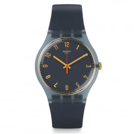 Swatch SUOM105 Nuit Bleue Gold & Blue Silicone Watch