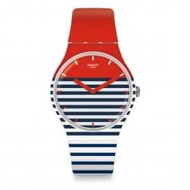 SUOW140 Maglietta Navy Blue, Red & White Striped Silicone Watch