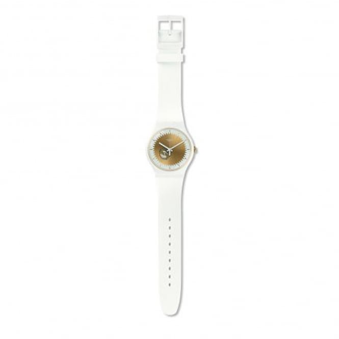 Swatch SUOW144 Sunsplash Gold & White Silicone Watch