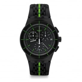 SUSB409 Laser Track Green & Black Silicone Watch