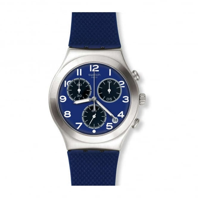 Swatch YCS594 Sweet Sailor Silver & Navy Blue Silicone Watch
