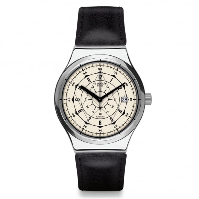 Swatch Swatch YIS402 Sistem Soul Silver & Black Leather Automatic Watch