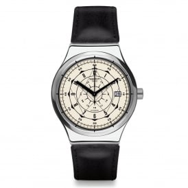Swatch YIS402 Sistem Soul Silver & Black Leather Automatic Watch