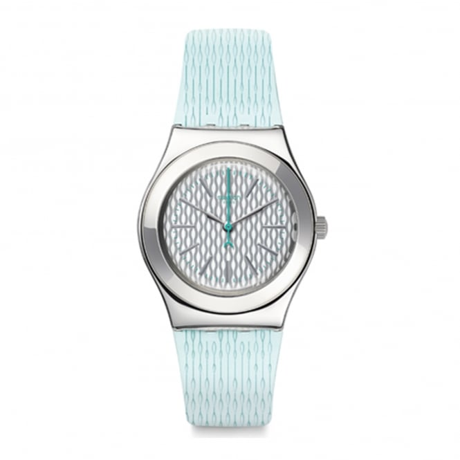 Swatch YLS193 Mint Halo Silver & Light Green Silicone Watch