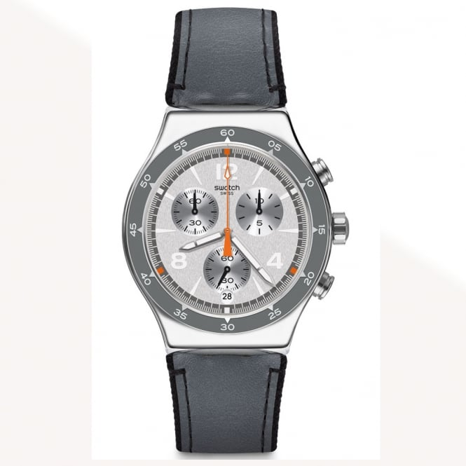 Swatch Swatch YVS446 Last Round Grey & Stainless Steel Leather Watch