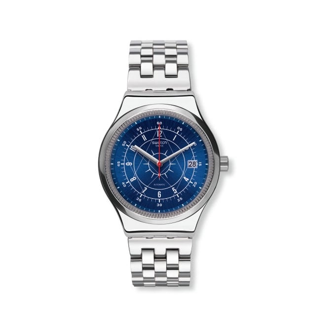 Swatch YIS401G SISTEM BOREAL Sistem51 Irony Blue & Silver Stainless Steel Men's Watch