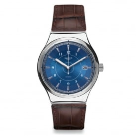 YIS404 Sistem Fly Silver & Brown Leather Automatic Watch