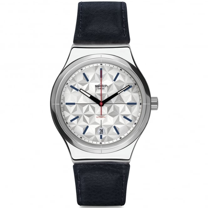Swatch YIS408 Sistem Puzzle Silver & Black Leather Automatic Watch