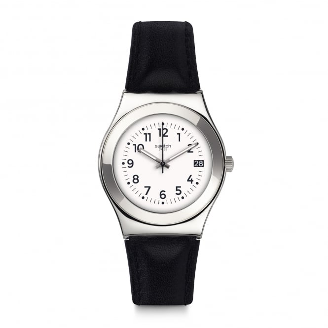 Swatch YLS453 Licorice Silver & Black Leather Watch