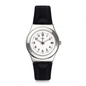 YLS453 Licorice Silver & Black Leather Watch