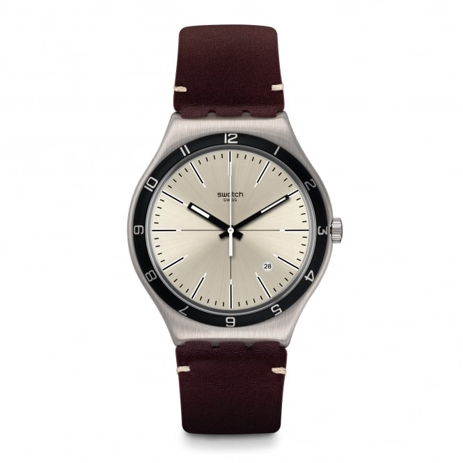 Swatch YWS423 Four Stitches Grey & Brown Leather Watch