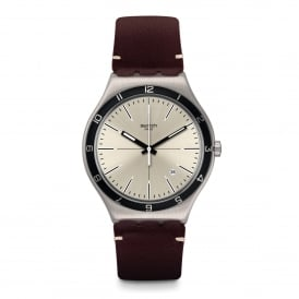 YWS423 Four Stitches Grey & Brown Leather Watch