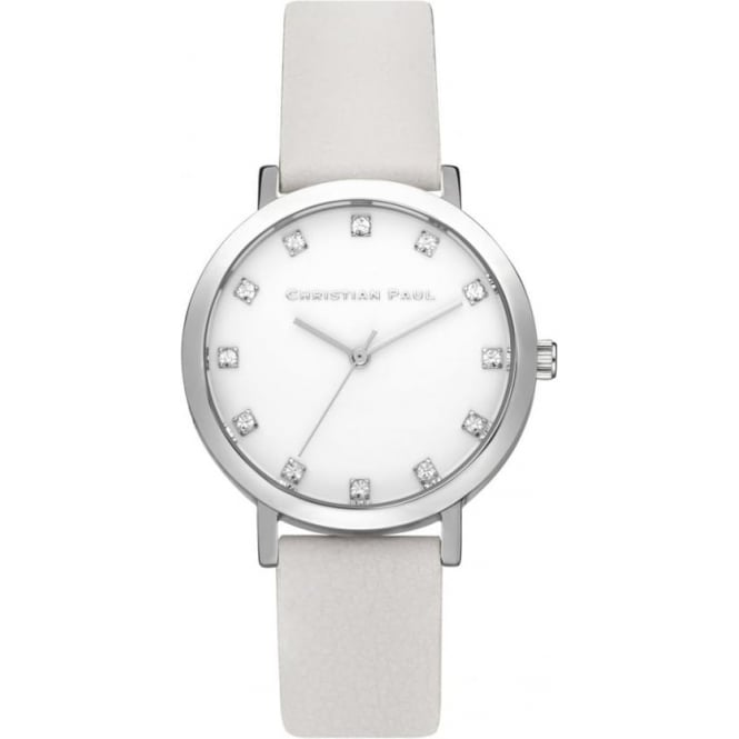 Christian Paul Watches SWL-03 Hayman Luxe 35mm Silver & White Leather Watch