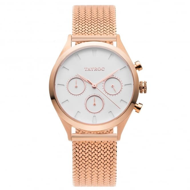 Tayroc TY50 Rome Rose Gold Mesh Chronograph Ladies Watch