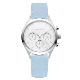 TY60 Mykonos Silver & Blue Leather Chronograph Ladies Watch