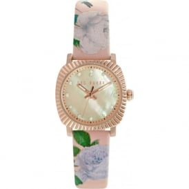 Ted Baker TE10024721 Rose Gold & Pink Floral Leather Ladies Watch