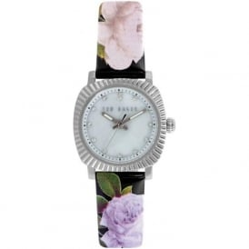 Ted Baker TE10024724 Silver & Black Floral Leather Ladies Watch