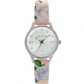 Ted Baker TE10025271 Silver & Pink Floral Leather Ladies Watch