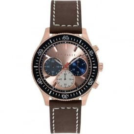 Ted Baker TE1125 Men's Rose Gold and Brown Leather Chronograph Watch