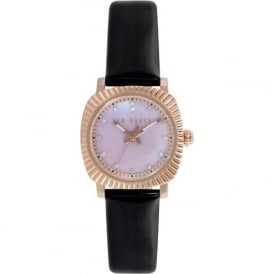 Ted Baker TE2120 Ladies Rose Gold & Black Leather Watch