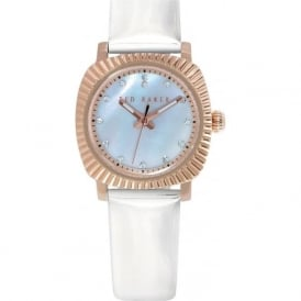 Ted Baker TE2122 Ladies Rose Gold & White Leather Watch