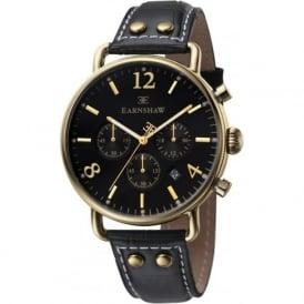 Thomas Earnshaw ES-8001-01 Investigator Gold & Black Textured Leather Mens Chronograph Watch