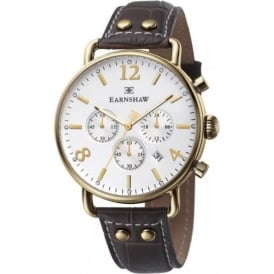 Thomas Earnshaw ES-8001-02 Investigator White & Gold Textured Brown Leather Mens Chronograph Watch