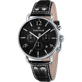 Thomas Earnshaw ES-8001-03 Investigator Silver & Black Textured Leather Mens Chronograph Watch