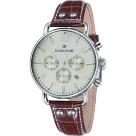 Thomas Earnshaw ES-8001-05 Investigator Silver & Champagne Brown Textured Leather Mens Chrongraph Watch