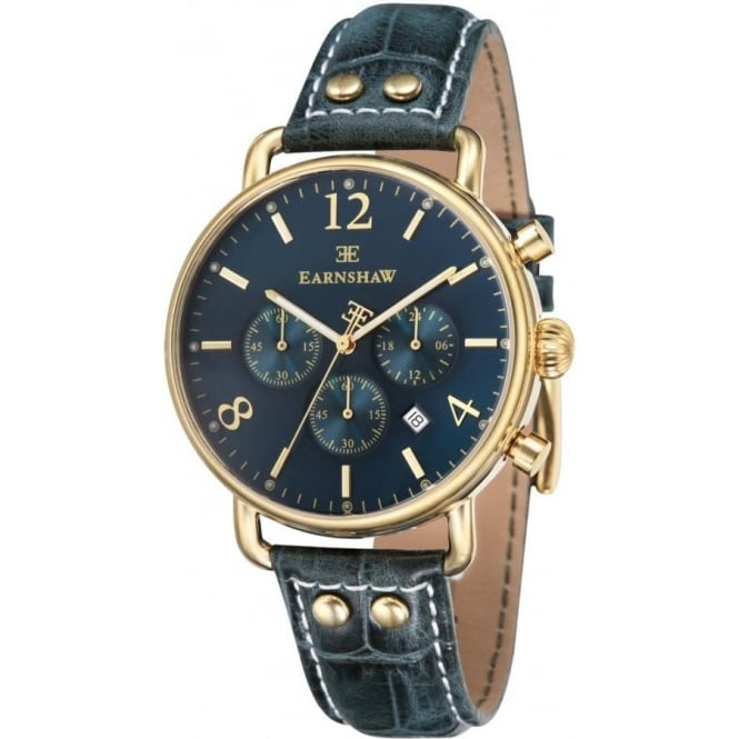 Thomas Earnshaw ES-8001-06 Investigator Gold & Green Textured Leather Mens Chronograph Watch
