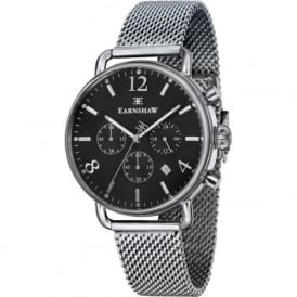Thomas Earnshaw ES-8001-11 Investigator Silver Mesh & Black Mens Chronograph Watch