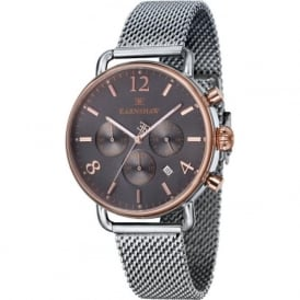Thomas Earnshaw ES-8001-33 Investigator Grey Mesh & Rose Gold Mens Chronograph Watch