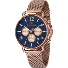 Thomas Earnshaw ES-8001-55 Investigator Rose Gold Mesh & Blue Mens Chronograph Watch