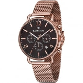 Thomas Earnshaw ES-8001-66 Investigator Rose Gold Mesh & Black Mens Chronograph Watch