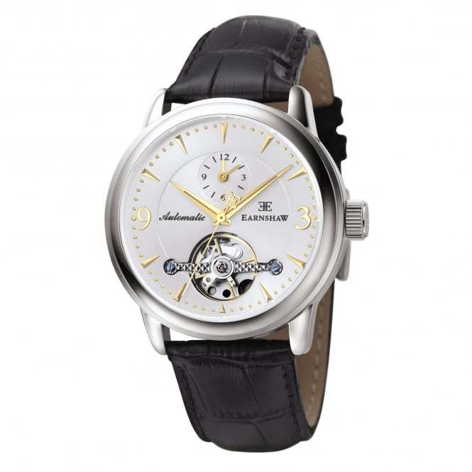 Thomas Earnshaw ES-8003-03 Regency Silver & Black Textured Leather Automatic Men's Watch